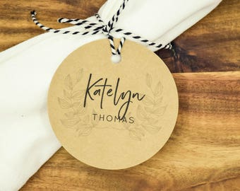 Rustic Wedding Place Cards Tags - Kraft Round Customised with Twine - 25 / 50 / 100 / 150 / 200 / 250 packs