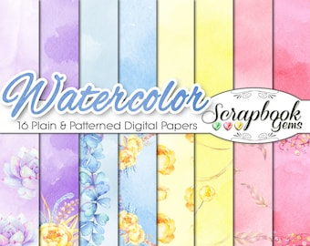 """Watercolor Flowers Papers Set 3, 12"""" x 12"""", High Quality 300 dpi JPEG files, Instant Download spring easter purple yellow blue pink flowers"""