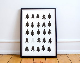 Scandinavian Woodland Poster Print- Minimalist, black and white, nordic