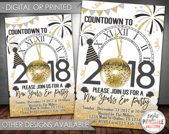 New Years Invitation, New Years Eve Party Invitation, New Years Invite, New Year Invitation, Black and Gold, Digital or Printed #728