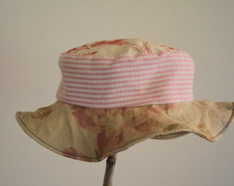 Toddler reversible sun hat: eco friendly, upcycled, OOAK