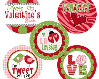 Happy Valentine's Day INSTANT DOWNLOAD Images for Bottle Caps 4x6