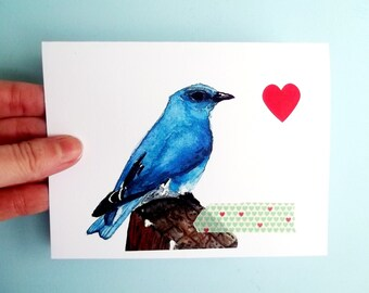 Bird Card Valentine Card Watercolor Card, Watercolor Bird, Collage Card, Greeting Card, bird print, blue bird, blue bird art blank card