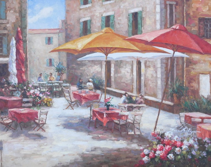 Tuscan Cafe Art Mediterranean Painting Village Style Oil on Canvas  Wall Art Beautiful Decor