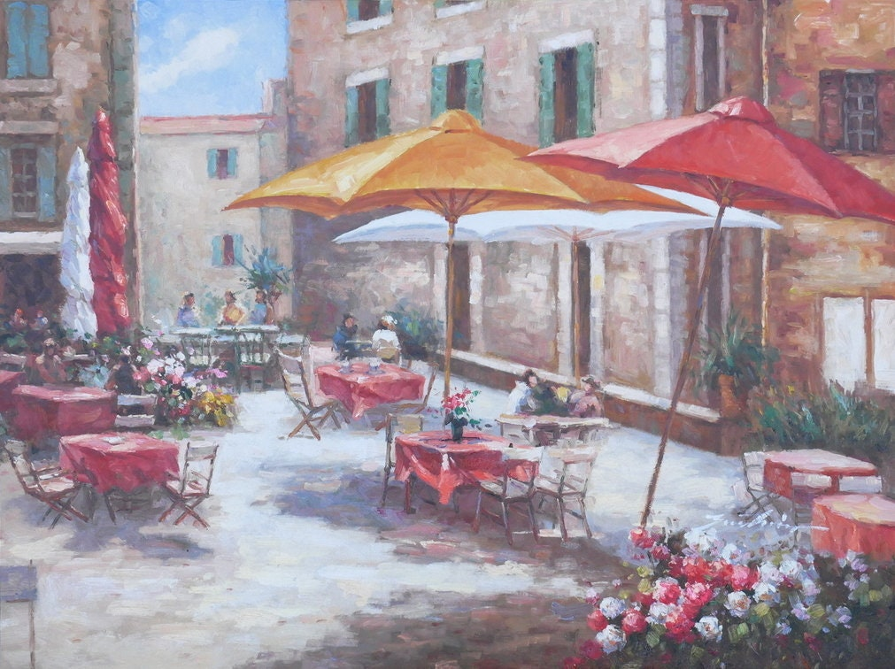 Brand new Tuscan Cafe Art Mediterranean Painting Village Style Oil on Canvas  AX24