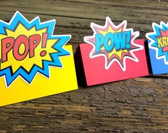 Superhero Tent Cards, Superhero Foot Tent Cards, Superhero Place cards
