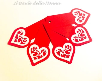 "Placeholder bookmark gift tag 5 set ""Valentine"" (article 70)"