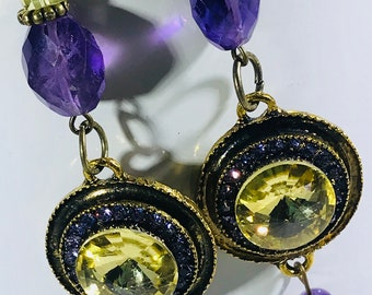 Yellow/Purple Charm with Swarovski Crystals Earrings