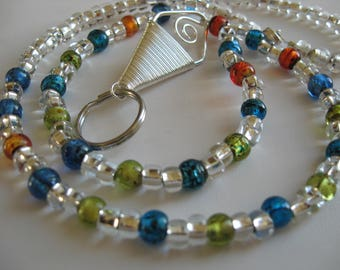 Colorful Beaded Lanyard with Silver Accents