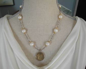 Vintage Italian coin pendant necklace with pearls, gold and silver
