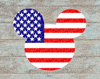 American Flag Mouse Head SVG, DXF, JPEG, and Studio Downloads
