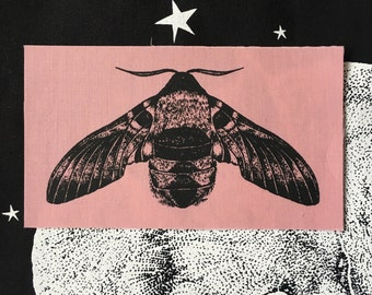 Limited Edition Pink Screen Printed Bee Hawk Moth Sew on Patch