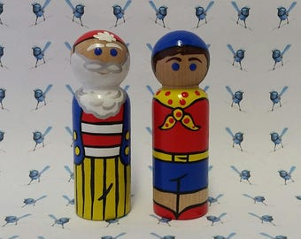 Wooden Peg Dolls - Noddy & Friends (Set of 2)