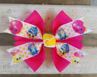Shopkins Pink/Yellow Hair Bow (4 inch)