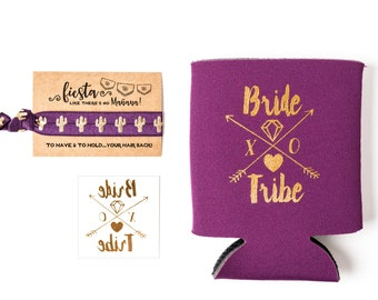 Purple Bride Tribe Bachelorette Gift Set | Metallic Gold Tattoo, Hair Tie + Drink Cooler | Eggplant Fiesta Bachelorette Party Favor