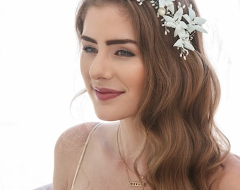 Vintage Blue Flower Crown Wired Pearl Bridal Headpiece Beaded Flower Hair Vine with Vintage Blue Flowers, Something Blue Wedding Headpiece