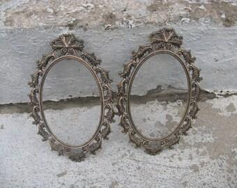 """oval metal frame set copper and black metal frames 4 """" by 6 """" filligree hollywood regency frames"""