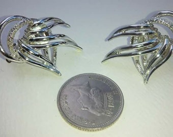 Vintage silver tone earclimbers clip on