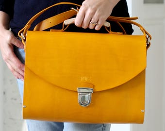 Leather handbag MAXI SATCHEL YELLOW