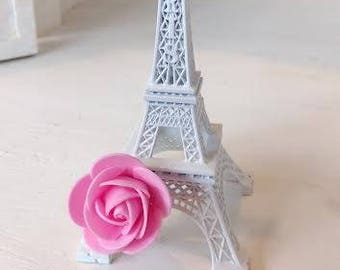 """1 White Shabby Chic Eiffel Tower with Pink Rose 6"""" Size Paris France"""