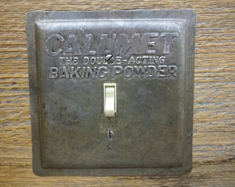 Kitchen Light Switch Covers Switchplate Cover Mid Century Lighting Made From An Old Vintage Calumet Baking Powder Cake Baking Pan SP-0228