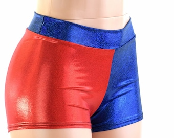 Red & Blue Metallic Harlequin Mid Rise Shorts Harley Quinn Cosplay 151583