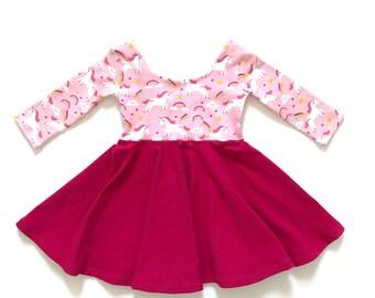 Unicorn Twirl Dress / Unicorn Dress / Pink Twirl Dress / Toddler Twirl Dress / Girl Twirl Dress / Baby Twirl Dress / Summer Dress