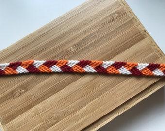 Red, orange and white Friendship Bracelet