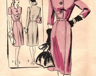The Homemaker Pattern 501 Eye Popping Fitted Dress /  ca. 1940's / SZ14 COMPLETE