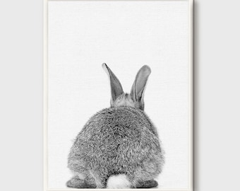 Rabbit Print, Rabbit Butt Tail, Printable Nursery Bunny, Woodlands Decor, Cute Rabbit Wall Art, Bunny Wall Decor, Nursery Poster Download