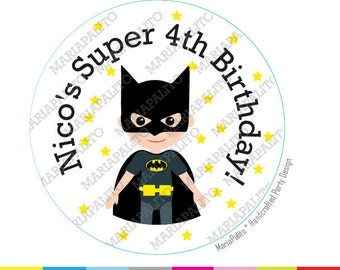 Batman Stickers, SuperHero Party Personalized Inspired PRINTED round Stickers, tags, Labels or Envelope Seals, A1269