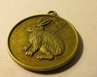 "Bronze Tone Metal Year of the Rabbit Chinese Zodiac Charm Pendant, 1"""