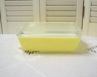 Vintage Pyrex 0503 Yellow Refrigerator Dish with Lid 1 1/2 Quart Glass Food Storage Retro Kitchen Ware PanchosPorch