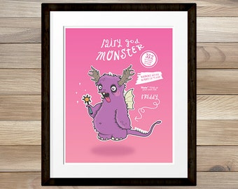 Fairy God Monster, cheeky, fun and quirky light hearted cartoon illustration print, 8x10, INSTANT DOWNLOAD