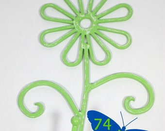 Flower Wall Hook Metal Shabby Chic Green Apple Distressed