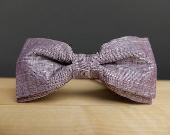 Eggplant Bow Tie Purple Bow Tie for Men Violet Bow Tie Mens Bow Tie Wedding Bow Tie Linen Bow Tie Groomsmen Gift for Men Pre Tied Bow Tie