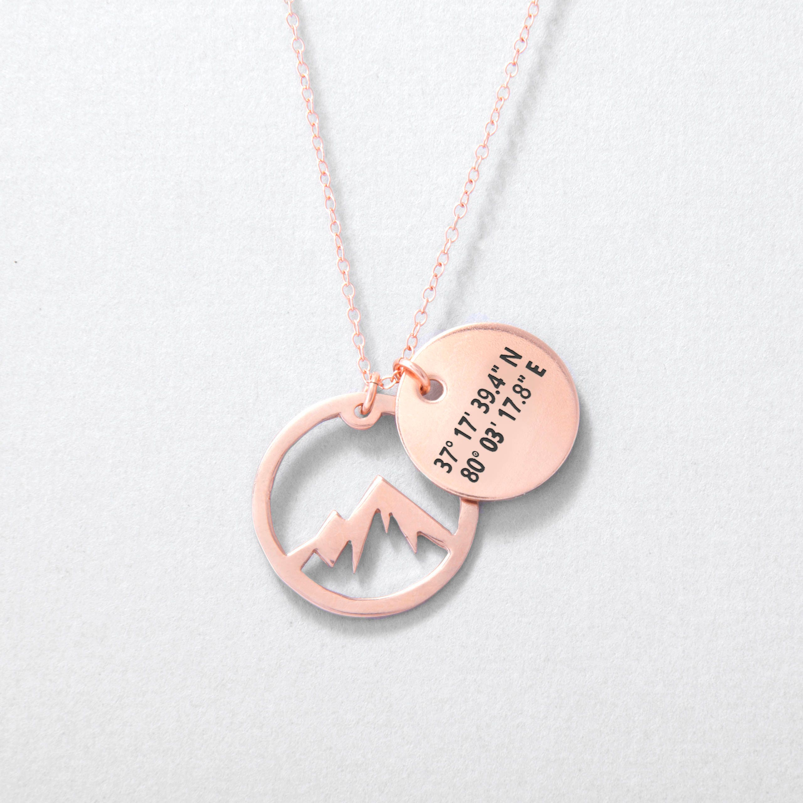 stamped personalized custom pin jewelry necklace grad hand pendant coordinates gps gift