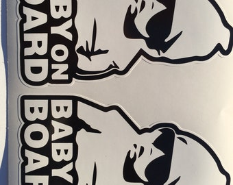 2 Baby On Board with Hoodie and Sunglasses Diecut Window Bumper Decal Sticker