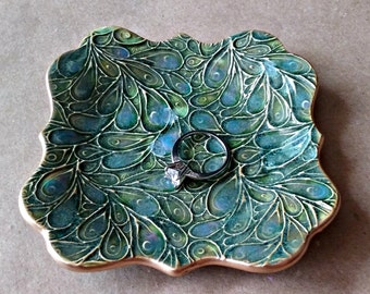 Ceramic Trinket Dish jewelry dish dark Moss Green with blue edged in gold