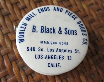 ADVERTISING TAPE MEASURE  B, Black & Sons Los Angeles Fabric Purveyor Garment District California