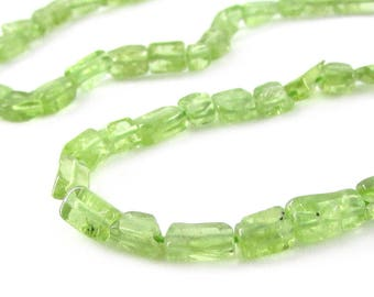 Peridot Rectangle Beads, Natural Peridot Beads, Gemstone Chips, Peridot Bead Strand, Peridot Green Beads, August Birthstone, 14 inch strand
