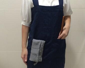 SALE! Linen Pinafore Apron - Mediumweight 100% Flax Linen, Japanese Apron, Crossback Apron, No tie apron, Square Cross Apron - Front Pocket
