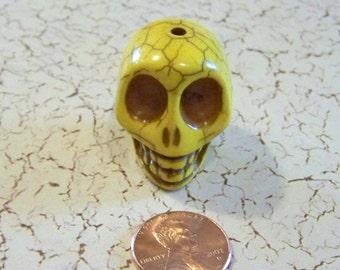 Skull Large Bright Yellow Stone Bead