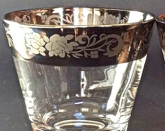 Vintage Dorothy Thorpe Old Fashioned, Set of 5 - Etched Silver Rim Drinkware