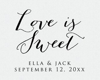 Love is Sweet, Custom Stamp, Wedding Stamp, Self Inking Stamp, Wedding Decor, Valentine's Day Stamp,Personalized Stamp (T67)