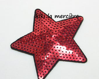patch, applique, patch of shiny sequins, red and Black Star sequins sewing
