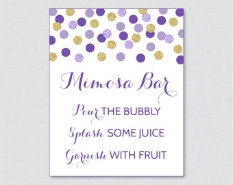 Mimosa Bar Sign in Purple and Gold Glitter Dots - Bridal Shower Mimosa Bar Sign Printable - Purple and Gold Glitter Dots - 0001-R