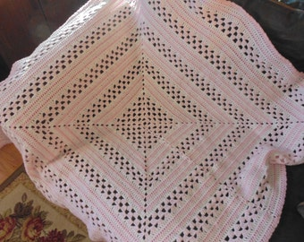 crochet pink and white baby blanket, about 38 inch square (BR)