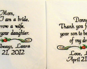 Mother or Father of the Bride Two Wedding Handkerchief Mother or Father of the Groom Wedding Gifts By Canyon Embroidery