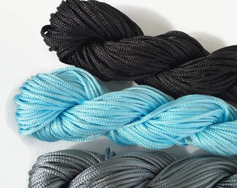 Nylon Shamballa Cord 1mm / Chinese Knotting Cord Various Colours Black Grey Blue